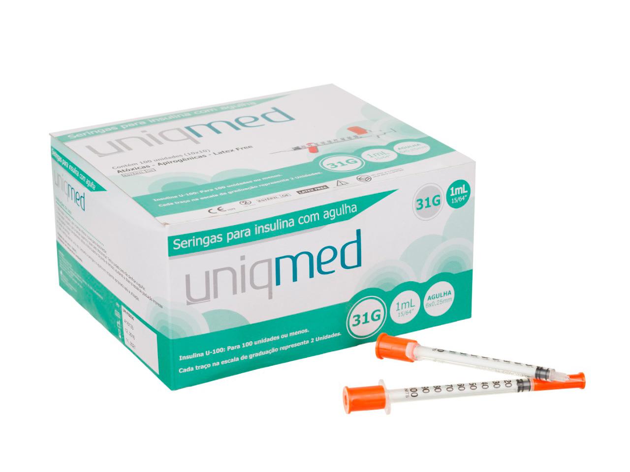 SERINGA 1,0 ml - 31 G - caixa 100 unidades